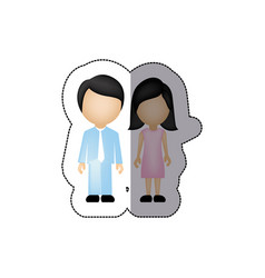 color couple with black hair icon vector image