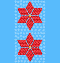 geometric red flower consisting of isometric cubes vector image vector image