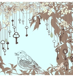 Vintage card with sparrow and keys vector image