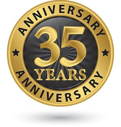 35 years anniversary gold label vector image vector image