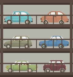 Cars In Parking Building vector image vector image