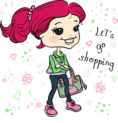 Cute hipster baby girl with bag vector image vector image