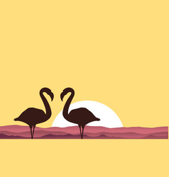 lake scenery with flamingo silhouette vector image vector image
