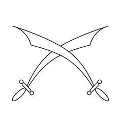 Crossed scimitars icon in outline style vector image vector image