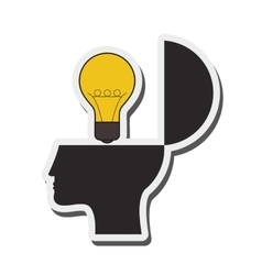 human head and lightbulb idea icon vector image vector image