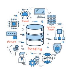 internet hosting and secure file storage vector image vector image
