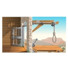 Location of prison and scaffold in Wild West vector image vector image