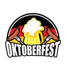 oktoberfest sausage and beer logo emblem for vector image