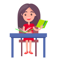 schoolgirl studying at desk vector image vector image