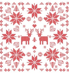 Xmas pattern in square shape with reindeers in red vector image vector image