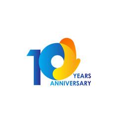 10 years anniversary celebration blue yellow vector