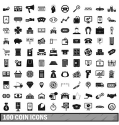100 coin icons set simple style vector