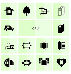 14 cpu icons vector image