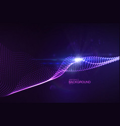 3d glowing neon digital wave of particles vector image