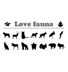 animals silhouettes love fauna vector image