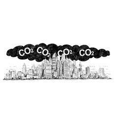 Artistic drawing of city covered by smog and co2 vector