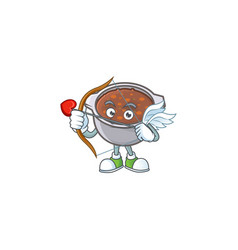 Baked beans in bowl with cupid mascot vector