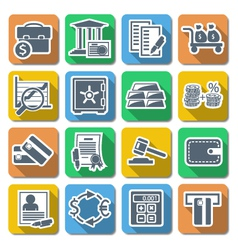 Bank Flat Icons vector image