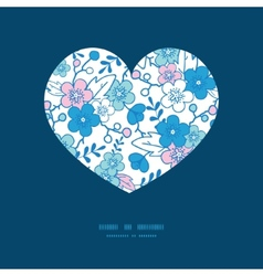 Blue and pink kimono blossoms heart vector