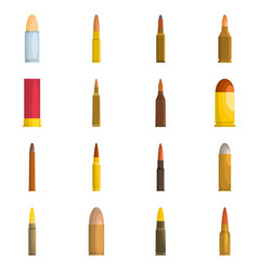 bullet gun military icons set isolated vector image