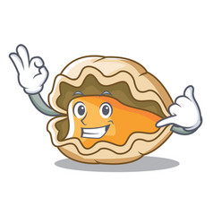 Call me oyster mascot cartoon style vector