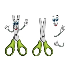 Cartoon scissors with victory gestures vector image