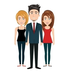cartoon women and man standing human resources vector image