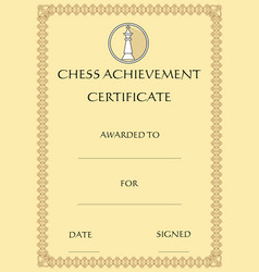 chess achievement certificate template on old vector image