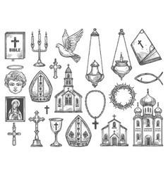 Christian religion church bible god icon cross vector