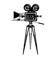 Cinema movie camera side view template vector