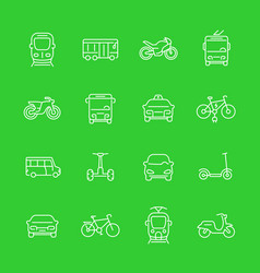 City transport line icons set vector