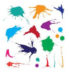 collection paint splash set brush strokes vector image