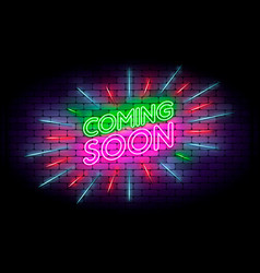 Coming soon with rays neon sign realistic neon vector