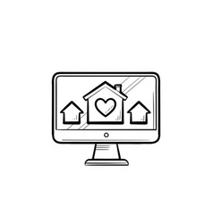 computer monitor with houses and house with heart vector image