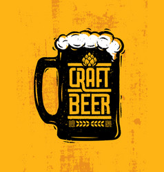 craft beer mug with foam creative lettering vector image
