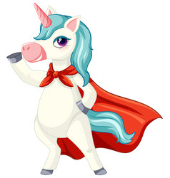 Cute blue unicorn in standing position on white vector