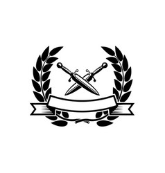 emblem template with crossed swords design vector image