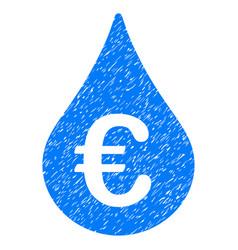 Euro fuel drop grunge icon vector