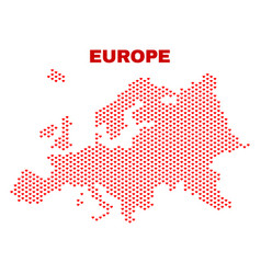 europe map - mosaic of love hearts vector image