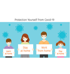 Family holding banners stay work at home vector