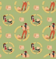 farmers wheat harvest farming seamless pattern vector image