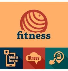 Flat fitness emblems vector