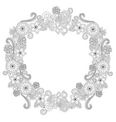 Flower frame oval coloring book vector