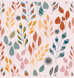 folk orange green yellow and red leaves seameless vector image