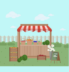 fresh fruits on a shelf store vector image