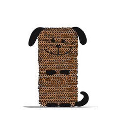 Funny dog knitting sketch for your design vector