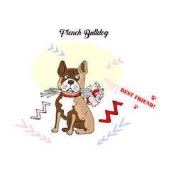 funny french bulldog sketch vector image