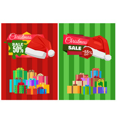 Half price christmas sale poster wrapped presents vector