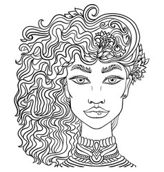 Hand drawn doodle girl on white background womens vector