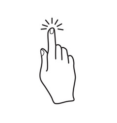 hand finger click icon black outline simple flat vector image